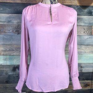 NWT Ann  Taylor Blouse Pink Long-Sleeved Silk